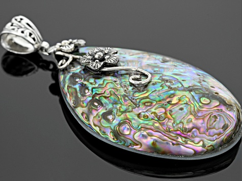 Multi-Color Abalone Shell Sterling Silver Floral Pendant With Cord