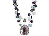 Abalone Shell, Amethyst, Fluorite Silver Multi-Strand Necklace 18 inch