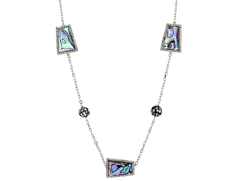 Abalone Shell, Diamond Simulant Silver Station Necklace 40 inch