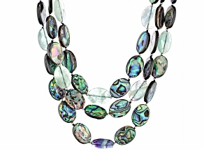 Multicolor Abalone Shell, Silver Adjustable Necklace