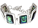 Multi Color Abalone Shell Sterling Silver Bracelet.
