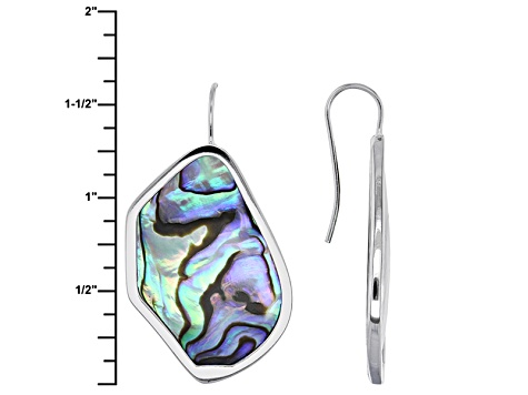 Multi Color Abalone Shell Sterling Silver Earrings.