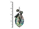 Multi Color Abalone Shell Silver Dangle Necklace .20ctw