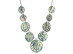 Muli Color Abalone Shell Leaf Sterling Silver Necklace