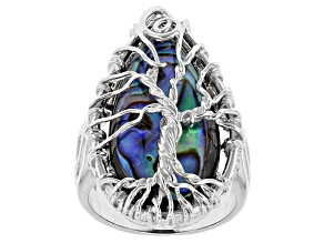 Multi Color Abalone Shell Sterling Silver Ring.