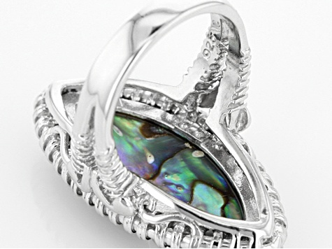 Multi Color Abalone Shell Sterling Silver Ring