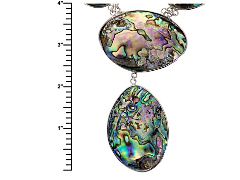Multi Color Abalone Shell Sterling Silver Necklace.
