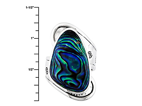 Multi Color Abalone Shell Sterling Silver Ring 24x15mm