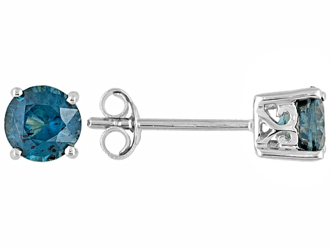 Teal Kyanite 1.22ctw 5mm Round 10k White Gold Stud Solitaire Earrings