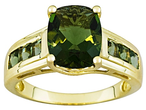 2.90ctw Cushion And Square Faceted Green Moldavite 10k Yellow Gold Ring