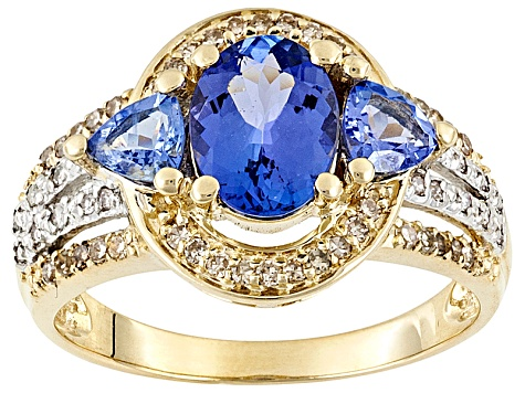 1.75ctw Oval And Trillion Tanzanite With .22ctw Round White And Champagne Diamond 10k Gold Ring