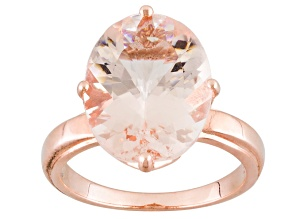Pink-Peach Cor-De-Rosa Morganite™ 8.00ct Oval 10kt Rose Gold Solitaire Ring