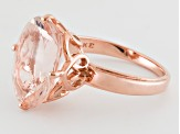 Pink-Peach Cor-De-Rosa Natural Morganite 8ct Oval 10kt Rose Gold Solitaire Ring
