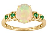 Ethiopian Opal .90ct With .10ctw Emerald 10k Yellow Gold Ring