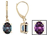 Lab Created Alexandrite 4.20ctw 10k Yellow Gold Earrings