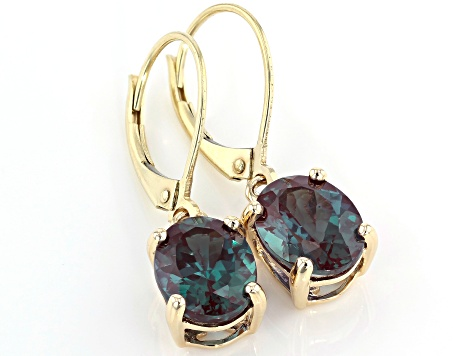 Lab Created Alexandrite 4 20ctw 10k Yellow Gold Earrings