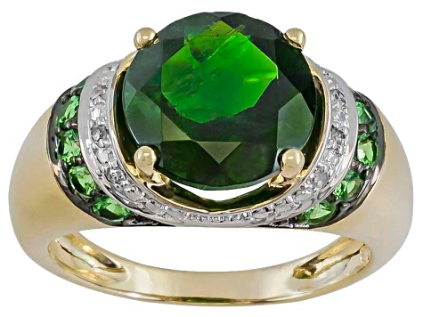 Chrome Diopside, Tsavorite And White Diamond 10k Yellow Gold Ring