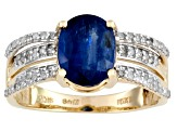 Kyanite And White Diamond 10k Yellow Gold Ring