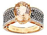 3.20ct Cor-De-Rosa Morganite™ With .75ctw White And Champagne Diamond 14k Rose Gold Ring
