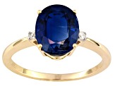3.18ct Oval Nepalese Kyanite With .04ctw Round White Diamond Accent 10k Yellow Gold Ring