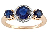 1.73ctw Round Nepalese Kyanite With .02ctw Round White Diamond Accent 10k Yellow Gold 3-Stone Ring