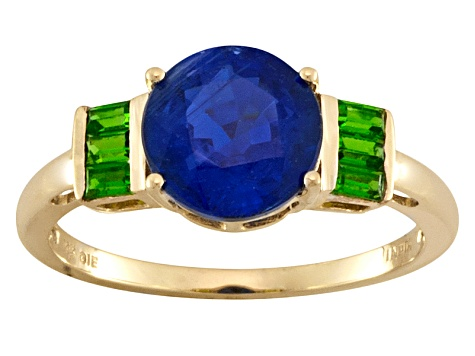 Womens Ring Blue Kyanite Green Chrome Diopside 3ctw 10k Yellow Gold