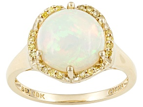 Ethiopian Opal 10k Yellow Gold Ring 2.11ctw