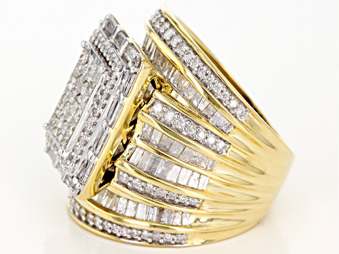 White Diamond Ring 10k Yellow Gold 3.00ctw