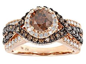 Champagne And White Diamond 10k Rose Gold Center Design Ring 2.00ctw