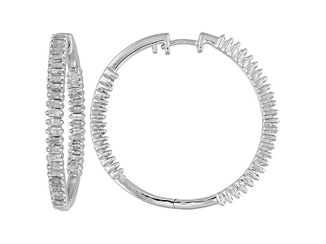 Womens Natural Diamond 1ctw Sterling Silver inside Outside Hoop Earrings