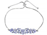 Blue tanzanite rhodium over silver bolo bracelet 3.53ctw