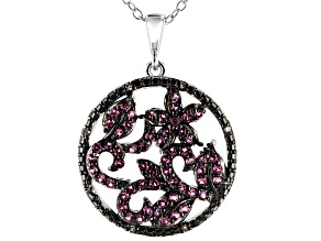 Purple Rhodolite Rhodium Over Sterling Silver Pendant with Chain .69ctw