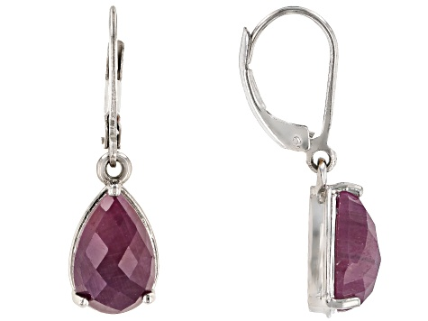 Red Indian Ruby Rhodium Over Sterling Silver Earrings 6.80ctw