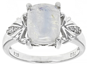 White moonstone rhodium over sterling silver ring .03ctw