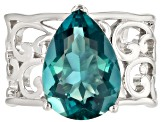 Blue Fluorite rhodium over silver solitaire ring 5.52ctw