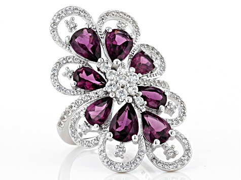 Raspberry color rhodolite over sterling silver ring 5.81ctw