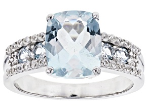 Blue aquamarine rhodium over silver ring 2.83ctw
