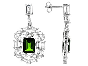 Green Chrome Diopside Rhodium Over Sterling Silver Earrings 9.30ctw
