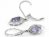 Blue tanzanite rhodium over sterling silver dangle earrings 1.10ctw