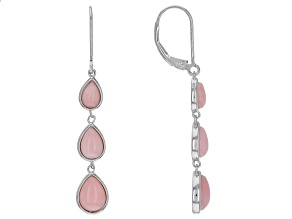 Pink Peruvian opal rhodium over silver earrings