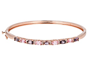 Multi-Color Spinel 18k Rose Gold Over Sterling Silver Bracelet 2.18ctw