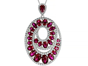 Red Lab Created Ruby Rhodium Over Silver Pendant with Chain 8.59ctw