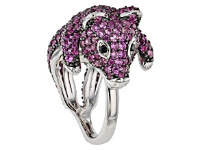 Pink Lab Created Sapphire Rhodium Over Silver Pig Ring 4.82ctw