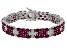 Red ruby rhodium over sterling silver bracelet 28.50ctw