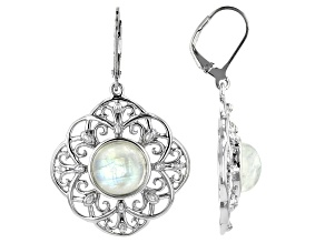 White rainbow moonstone rhodium over silver dangle earrings