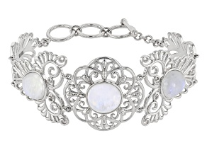 White rainbow moonstone rhodium over silver bracelet