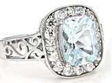 Blue aquamarine rhodium over silver ring 2.47ctw