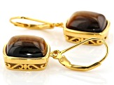 Brown Tiger's eye 18k Gold Over Silver Earrings