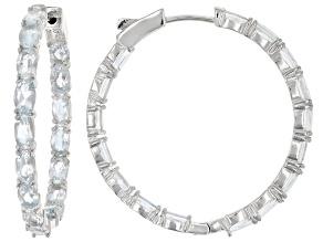 Blue aquamarine rhodium over silver hoop earrings 6.90ctw