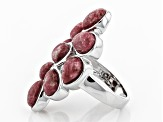 Pink thulite rhodium over sterling silver ring